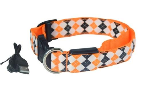 Let's Pet – Collare USB lampeggiante. Colore arancio taglia L