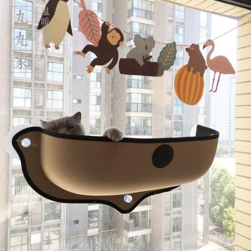 Cuccia amaca letto da finestra per gatti. Colore kaki.