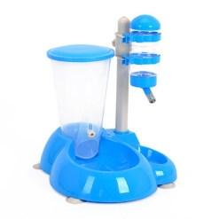 Distributore crocchette ed acqua per cani e gatti. Azzurro 27,5x24x36 cm