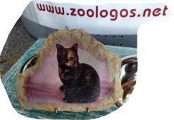 Immagine Pet su Pietra con base sostegno in metallo. 20 x 16 cm