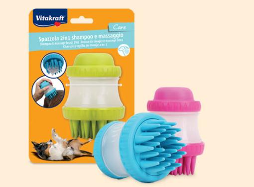 Vitakraft – Spazzola 2 in 1 shampoo e massaggio