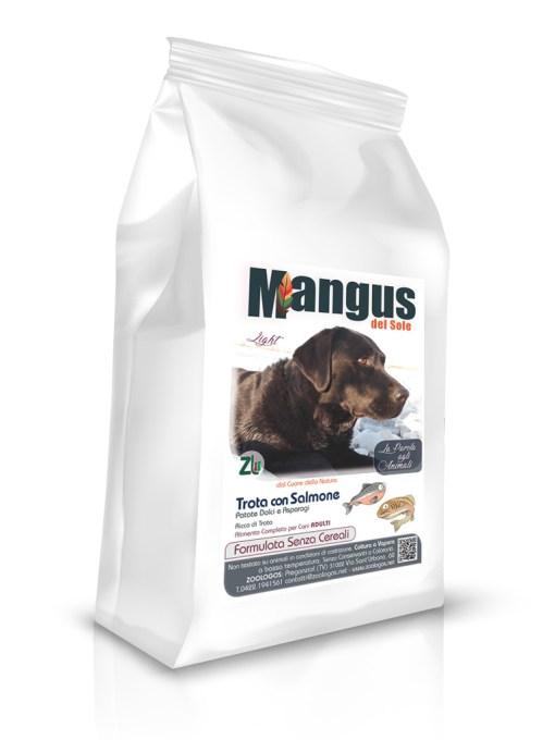 Mangus del Sole - Dog Grain Free Light Trota Salmone Patata dolce. 6kg