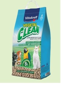 Vitakraft - Lettiera Biodegradabile Vegetal Clean. Gatti e piccoli animali. 8l