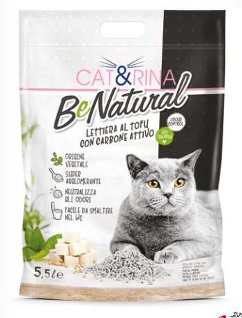 Cat&rina – Lettiera Be Natural al Tofu con carbone attivo. 5.5L