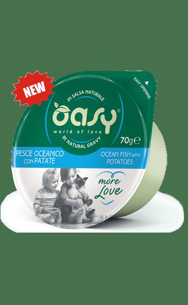 Oasy - Umido Cat More Love - Pesce Oceanico con Patate. Cup 80gr