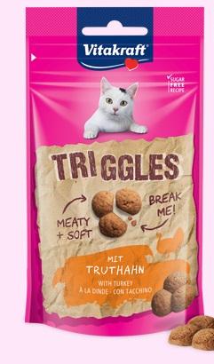 Vitakraft - Cat snack teneri Triggles Tacchino. 40gr