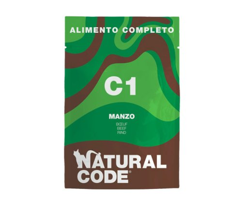 Natural Code - Umido cat completo con Manzo. Busta 70gr