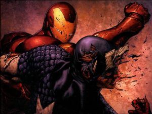 Iron Man Punching Captain America
