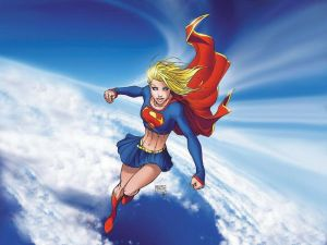 Supergirl in the sky