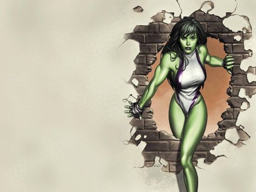 She-Hulk – walking through wall