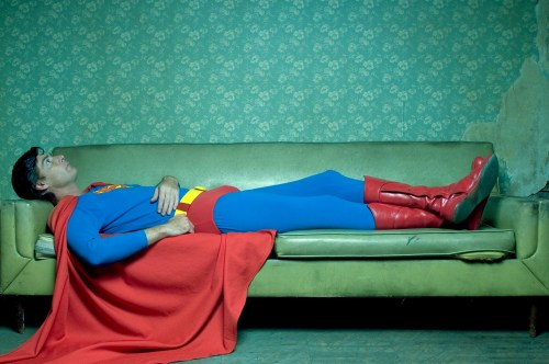 Superman on the couch