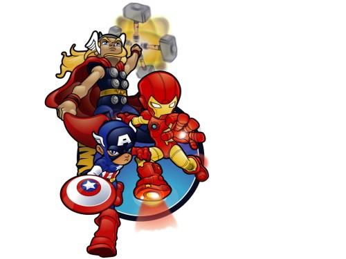 chibi thor, iron man and captain america