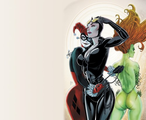 harley quinn, catwoman and poison ivy