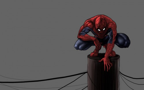spider-man on power pole
