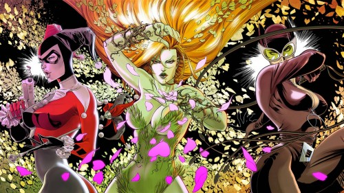 harley quinn, poison ivy, catwoman – widescreen