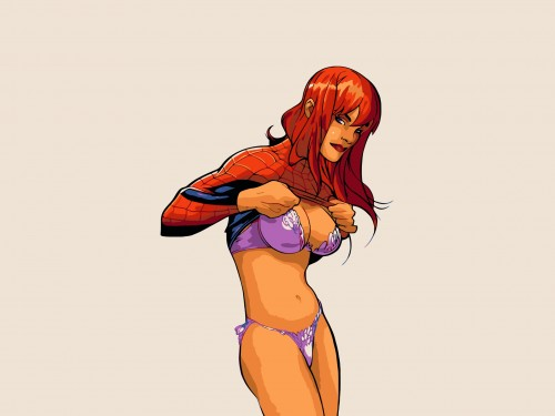 maryjane getting into spider-mans uniform