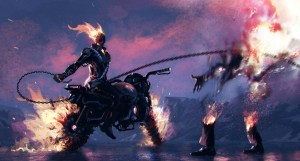 Ghost Rider on a motorcycle