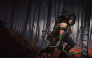 Green Arrow In a Forest