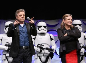 Mark Hamill and Carrie Fisher with some Storm Troopers