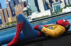 MCU Spider-man listening to music while in costume