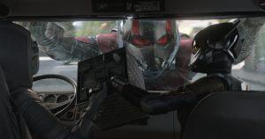 Ant-Man outside a van