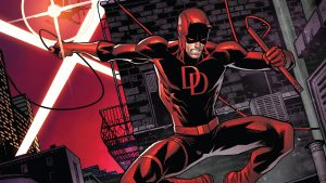 Daredevil take a spread eagle leap