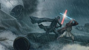 Darth Vader vs Jedi in the rain
