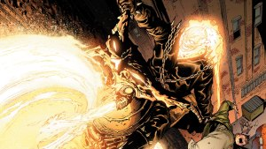 Ghost Rider scaring a young man