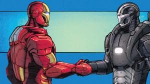Iron Man and War Machine Shaking hands