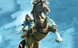 Link in a hood on his horse