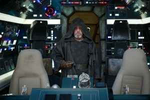 Luke Skywalker in the cockpit of the Millenium Falcon