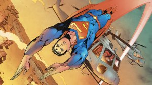 Superman buzzes a helicopter