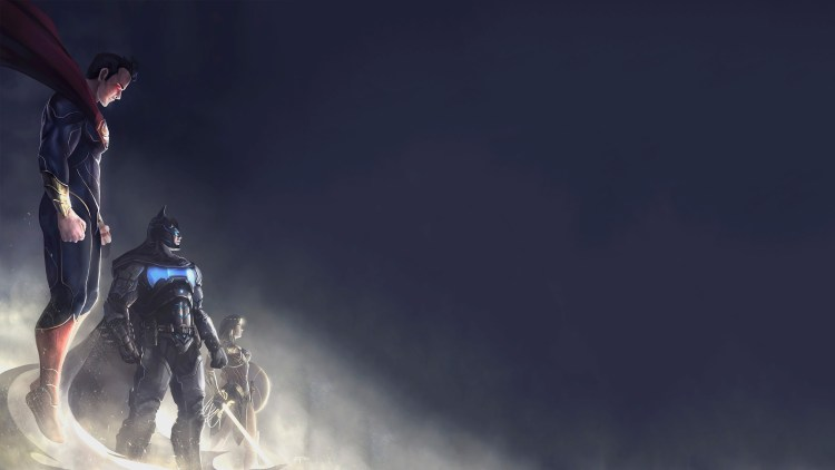 Electric Batman, Superman, and Wonder Woman in the mist