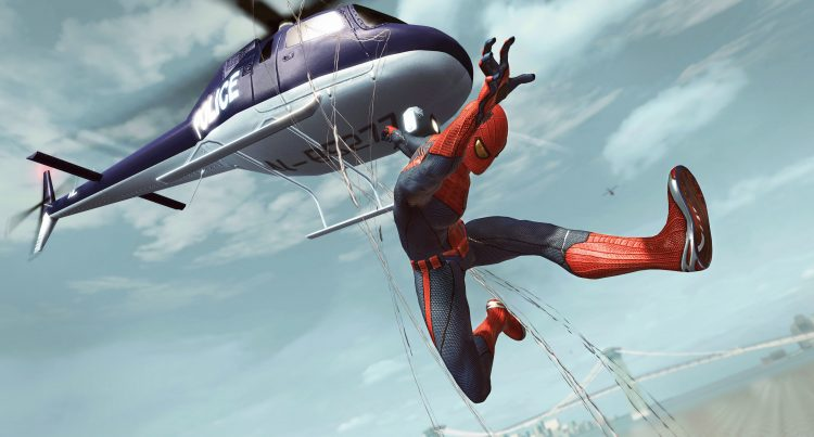 Spider-man harassing a helicoptor