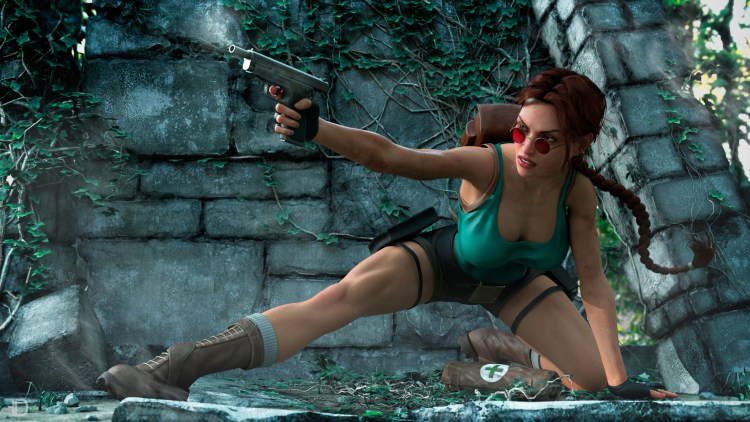 Tomb raider shooting her gun
