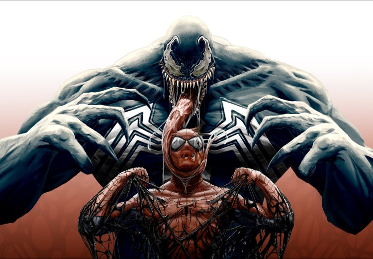 Venom gooping up spider-man