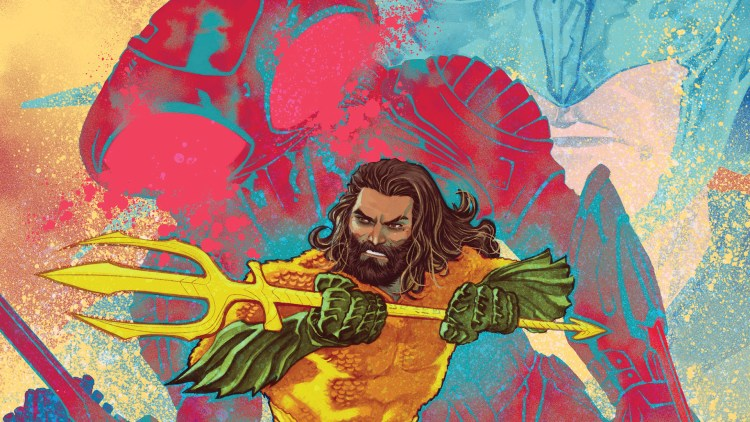 Aquaman being zapped by Black Manta