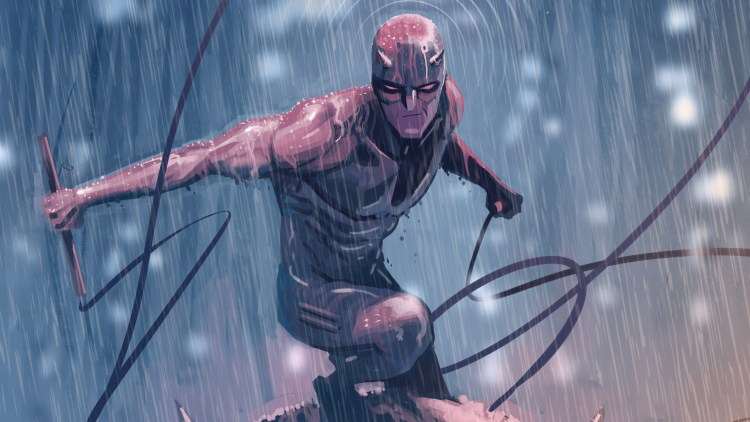 Daredevil in the rain with a smirk