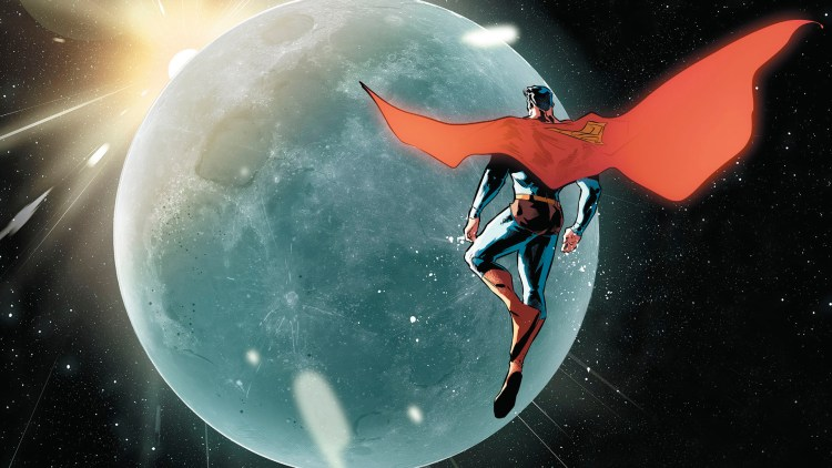 Superman inspecting the moon