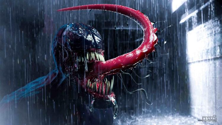 Venom in the rain ready for a kiss