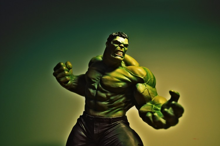 angry hulk with veiny arms
