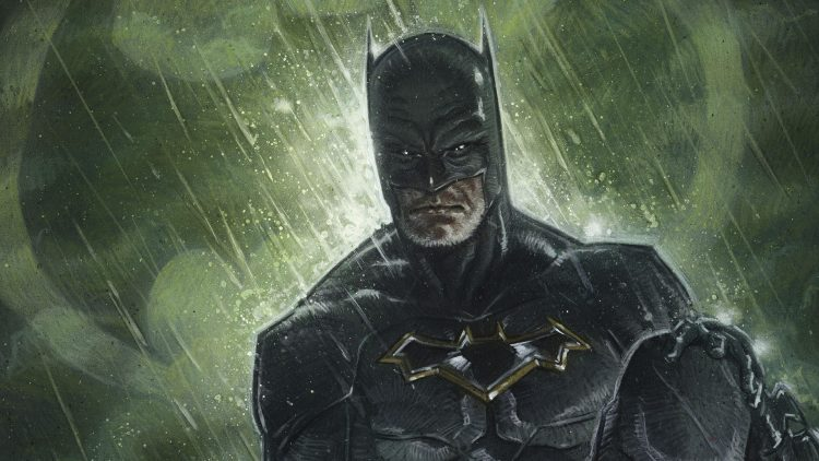 batman in the rain with a beard