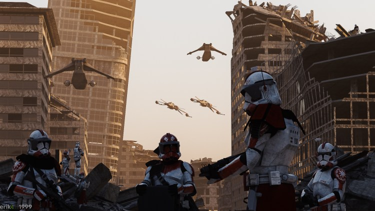 clone troopers on the ground and in the air