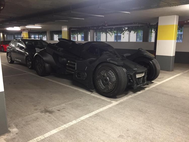 Batmobile in the parking garage