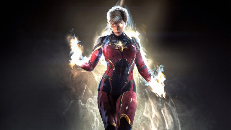 Captain Marvel is in flames