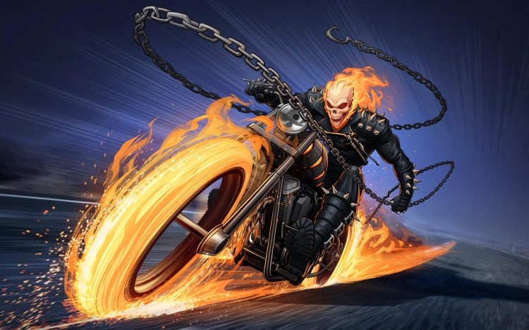 Ghost Rider on Fire Bike