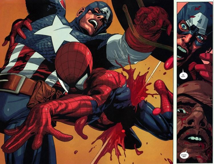 spider-man dies saving captain america