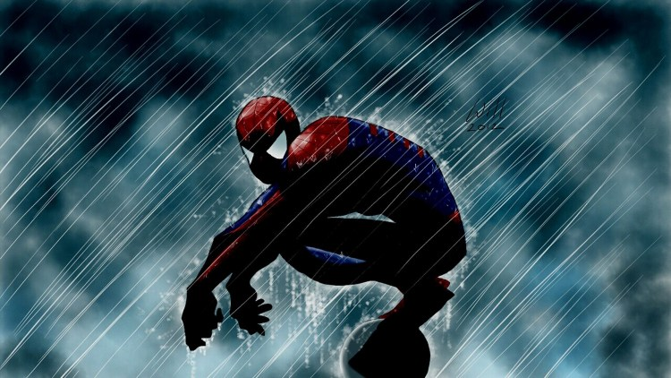spider-man in the rain