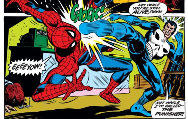 the punisher kicking spider-man