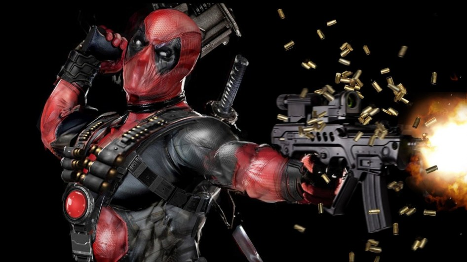 Deadpool shooting bullets from his gun
